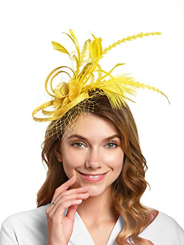 Fascinators Hat for Women Kentucky Derby Headband Wedding Mesh Feathers Tea Party Hair Clip (2-Yellow)]()