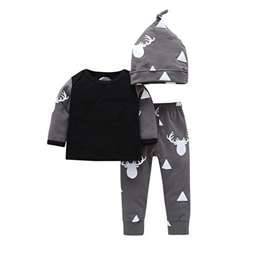Fall 3 Piece Outfit (YIJIUJIU Newborn 3 Piece Outfits Baby Boy Girls Clothes Deer Tops+Pants Set With Hat 0-6 Months)