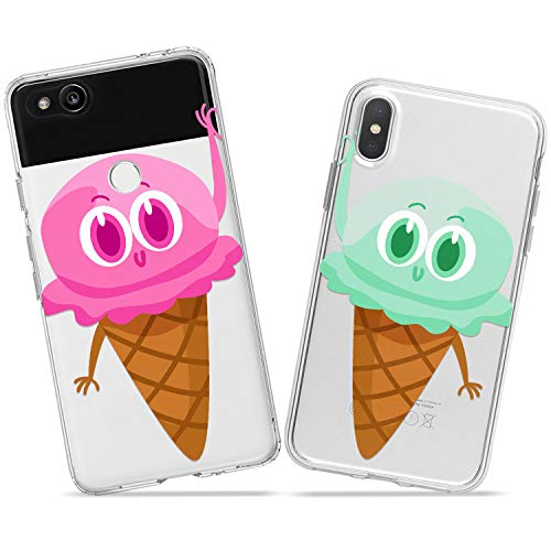 Wonder Wild Ice Cream Pair Couple Case iPhone Xs Max X Xr 10 8 Plus 7 6s 6 SE 5s 5 TPU Clear Gift Apple Phone Cover Print Protective Double -