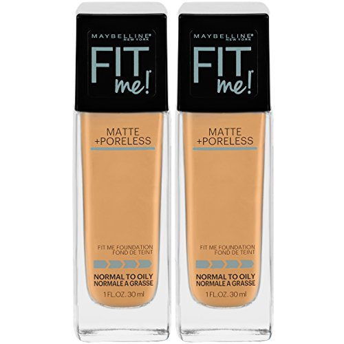 Maybelline New York Fit Me Matte + Poreless Liquid Foundation Makeup, Soft Tan, 2 Count