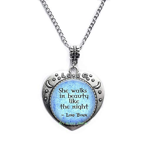 AllGlassCharm Quote She Walks in Beauty Like The Night-Poetic Jewelry-Literary Gift-Literature Necklace-Poem Pendant,AS0238