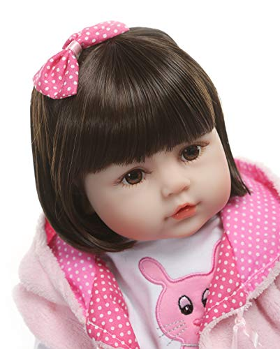 iCradle Real Life 24inch 60cm Reborn Toddler Fridolin Soft Silicone Bebe Doll Lovely Princess Long Hair Doll Toy for Ages 3+ (B)