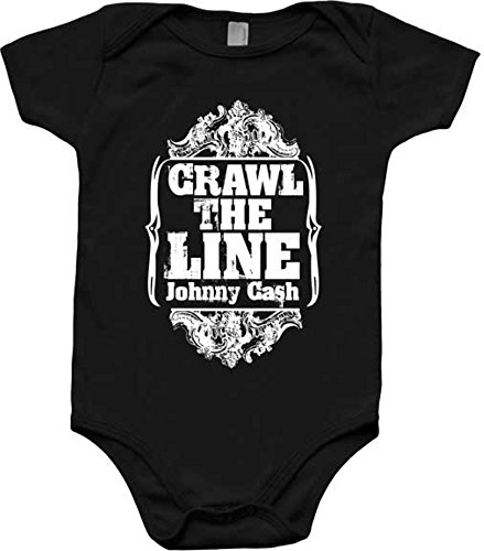 Merch Traffic Johnny Cash Crawl The Line Black Newborn Infant Baby Country Creeper Romper (6 Months)