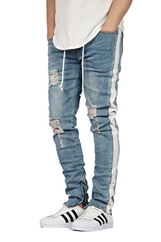 0e50bf580d6 KDNK Men s Destroyed Ankle Zipper Jeans With Side Stripe Twill - 2 Colors. by  kdnk