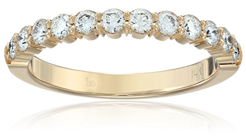 14k Shared Prong - 14k Yellow Gold 2.5mm Shared Prong Wedding Band Stackable Ring (1/2cttw, SI1, G Color), Size 6