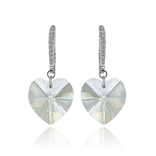 Design Clear Swarovski Crystal Ring - Sterling Silver Clear Heart Dangle Earrings Created with Swarovski Crystals
