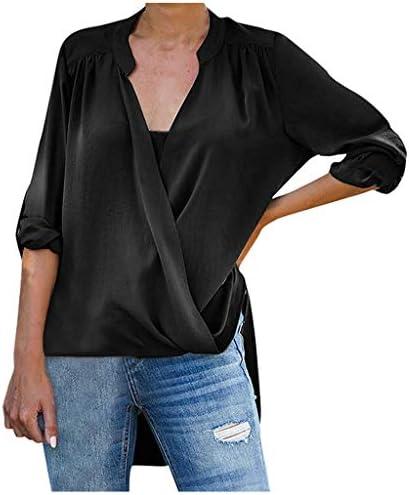 Meikosks Womens Chiffon Drape Cross Shirt V-Neck Long Sleeve Blouses Solid Color Tops / Meikosks Womens Chiffon Drape Cross Shirt V-Neck Long Sleeve Blouses Solid Color Tops