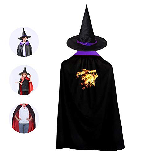 Kids Fire Lion Halloween Costume Cloak for Children Girls Boys Cloak and Witch Wizard Hat for Boys Girls Purple -