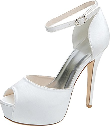 Peep Bridesmaid 37 Pumps Dress Wedding Strap Party White Eu 3128 Ankle Toe 08 Prom Platform Comfort Bride Satin Ladies Work XUxBxPwSq