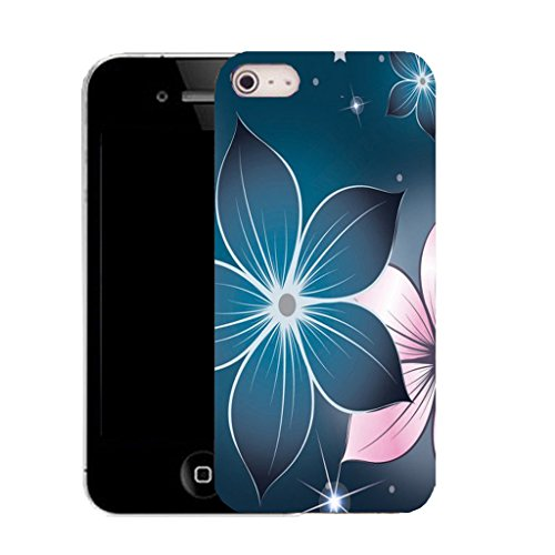 Mobile Case Mate IPhone 4 clip on Silicone Coque couverture case cover Pare-chocs + STYLET - blue poinsettia pattern (SILICON)
