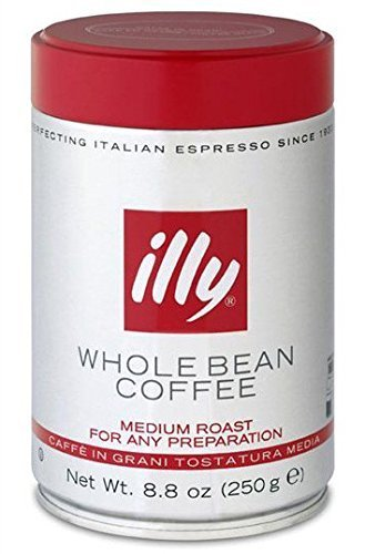 illy Caffe Normale Uninjured Bean Coffee, Medium Roast, 8.8 coffee cans (Pack of 6) Package may vary
