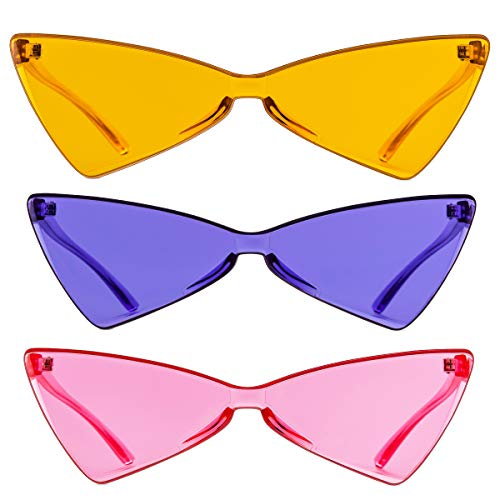 Colorful One Piece Rimless Transparent Cat Eye Sunglasses for Women Tinted Candy Colored Glasses ()