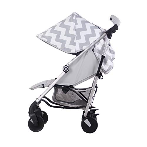My Babiie Grey Chevron Baby Stroller – Lightweight Baby Stroller with Carry Handle – Silver Frame and Grey Chevron Canopy – Lightweight Travel Stroller – Stylish Umbrella – Babies 6 Months – 33 lbs