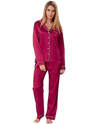 (Women Button Up Pajamas Sets Comfort Silk Sleepwear Wine Red Size S ZE52-3)