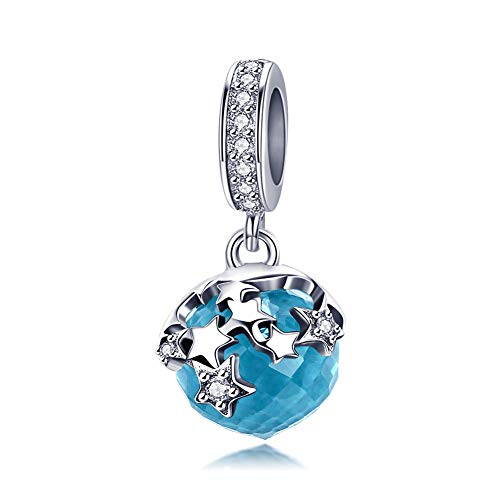 BAMOER 925 Sterling Silver Blue Crystal Pendant with CZ Star Hanging Charms for Women Snake Bracelet Necklace Making