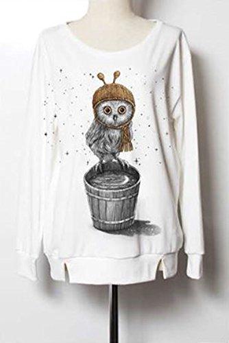 White Jumper JM026 Owl Moon Womens Mens Adult T-Shirt Fashion Art Design