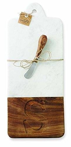 - Mud Pie 4751027S Marble and Wood Initial S Serving Board Set, Brown