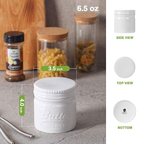 DOWAN Porcelain Butter Keeper Crock,Mason Jar Type Butter Crock,French Butter Dish,No More Hard Butter,Perfect Spreadable Consistency,White