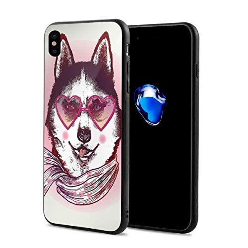 Compatible with iPhone X Case,Hipster Husky Dog with Heart Shaped Sunglasses and Scarf Fashion Animal Art Print,Soft Rubber Phone Case Cover