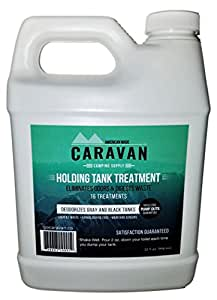"""Caravan """"full-timer's"""" RV Holding Tank Treatment - natural, eco-friendly, probiotic bacteria enzyme formula - new and different microbial-based approach to eliminate toilet odor (16 Treatments)"""