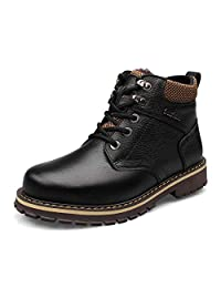 GLSHI Nuevo otoño e Invierno de Cuero de Moda para Hombre High Top Plus Cotton Boots Trend Inglaterra Martin Boots Ocio al Aire Libre Botas Cortas