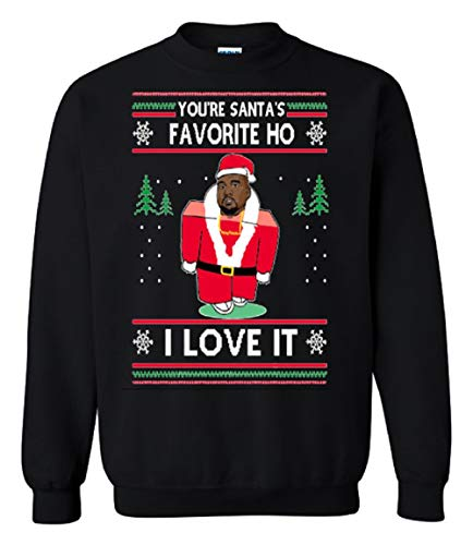 TheTshack You are Santa's Favorite Hoe I Love It Kanye West Ugly Christmas Sweater (XL, Black)