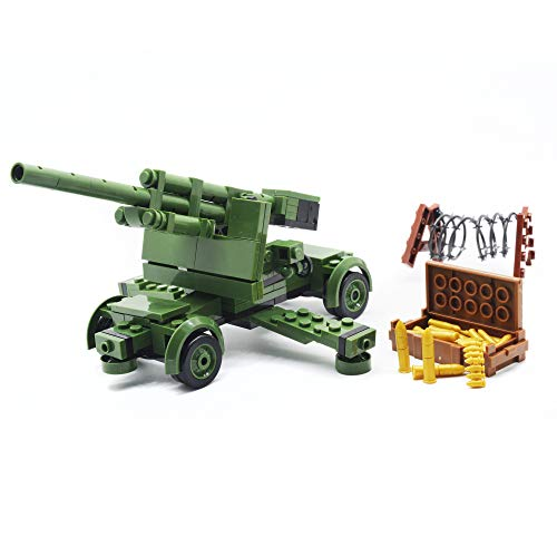 koolfigure Custom Mini WWII Building Bricks Set of German Army 88mm Anti Aircraft Artillery Machine Gun Toy 252PCS