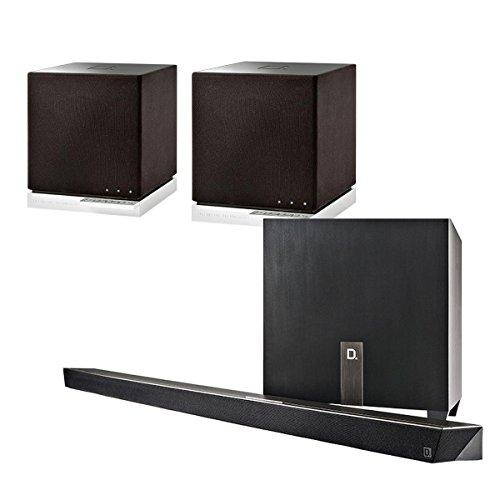 Definitive Technology W Studio Micro Ultra-Slim 3.1-Channel Wireless Soundbar Package with W7 Audiophile-Grade Wireless Powered Speakers (Black)