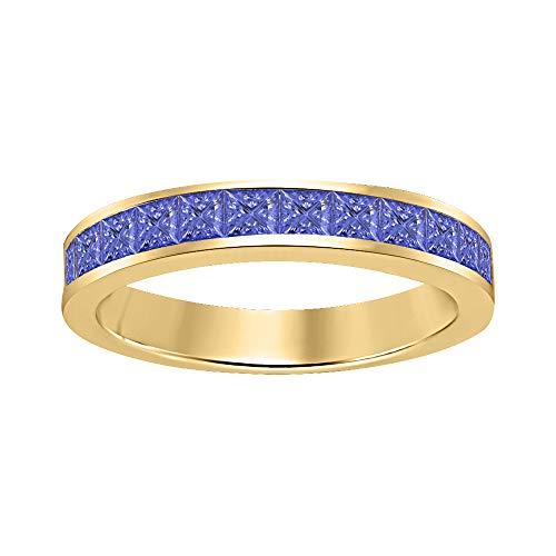(RUDRAFASHION Princess Cut Tanzanite Half Eternity 14k Yellow Gold Plated 925 Sterling Silver Wedding Band Ring for Men's)