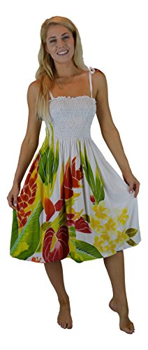 White Batik Floral Dress - 1