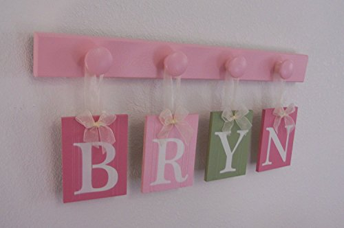 Baby Name Wall Sign - PERSONALIZED - Hanging Letter Blocks with Wood Pegs - Handmade - Painted in Pinks and Green. Custom Baby Gift, Ribbon Letter Block Plaques, Nursery Decorating Ideas