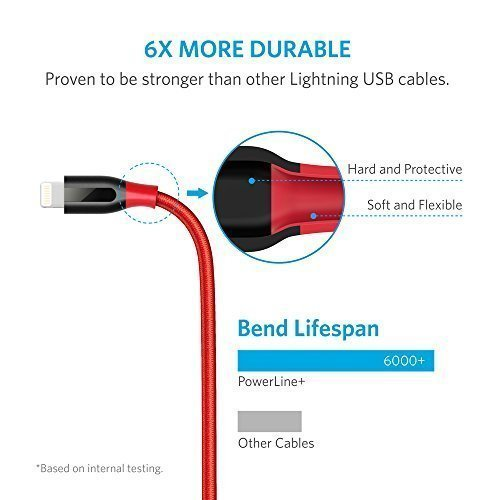Anker [2-Pack] PowerLine+ Lightning Cable (6ft) Durable and Fast Charging Cable [Aramid Fiber & Double Braided Nylon] for iPhone X/8/8 Plus/7/7 Plus/6/6 Plus/5s/iPad and More (Red) by Anker (Image #2)