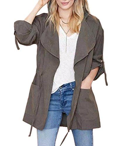 Coat Chaqueta Otoño Minetom Manga mujer Capucha 44 Gris con Larga para Abrigo Jacket ES 6zw4B
