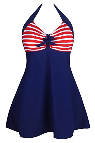 Aleumdr Women's Vintage Sailor Halter One Piece Skirtini Red Stripe - Nude Retro Women