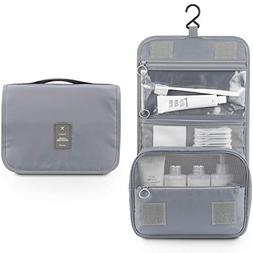 (Toiletry Organizer,Mossio Large Capacity Suitcase Luggage Portable Dopp Kit Wash Bag Grey)