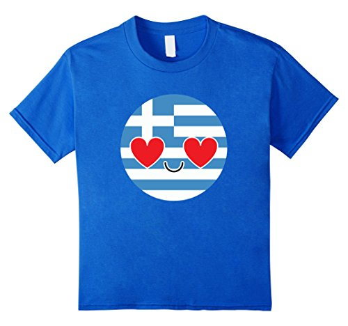 [Kids Greece Emoji Heart & Love Eye Greek Shirt National T-Shirt  10 Royal Blue] (National Costume Of All Countries)