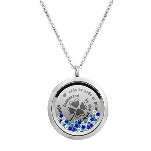 Friendship Forever Stainless Steel Crystal Locket Pendant Floating Charms Necklace - Best (Best Friends Lockets)