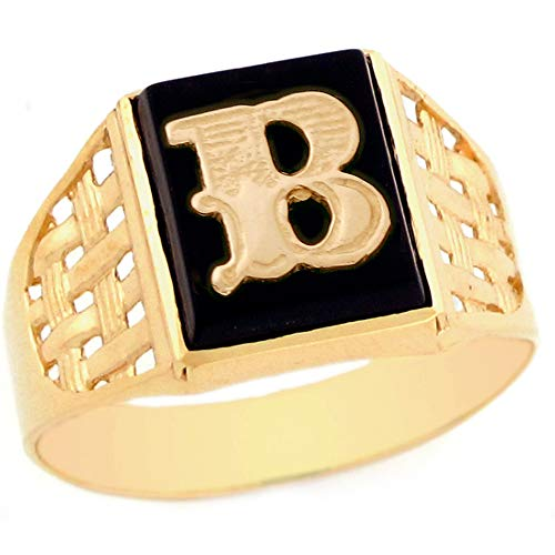 10k Yellow Gold Bold Black Onyx Mens Elegant Basket Weave Initial Letter B Ring - Size 10.5
