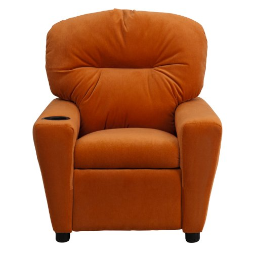 Contemporary orange microfiber kids recliner with cup for Orange kids chair