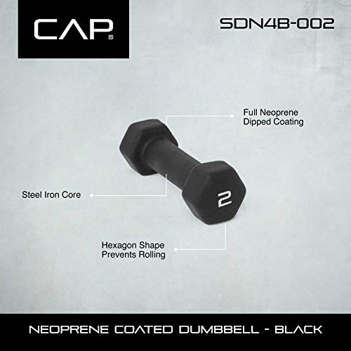 CAP Barbell Neoprene Coated Dumbbell (Pair), 2 lb., Black by CAP Barbell (Image #2)