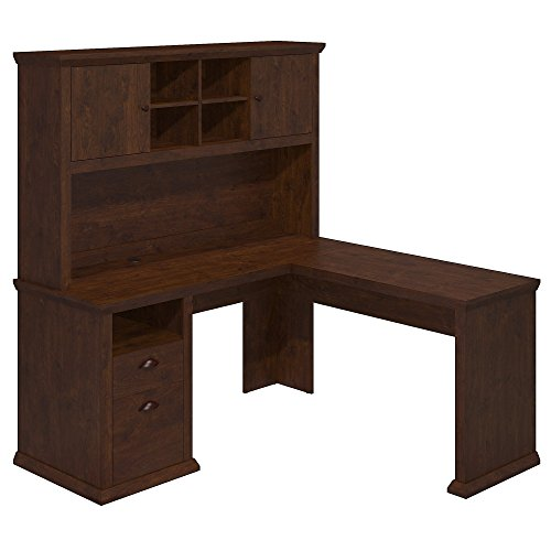- MyEasyShopping Yorktown L Shaped Desk with Hutch in Antique Cherry Desk Hutch Secretary Antique Slant Top