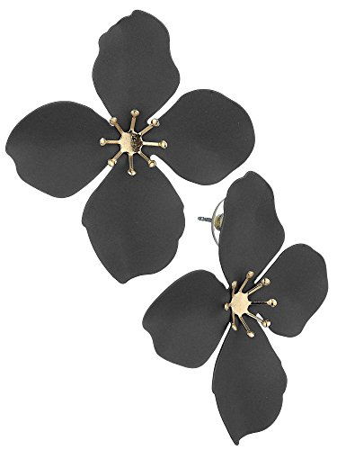 Women's Metal Matte 4 Petal Flower Pierced Earrings, Gray