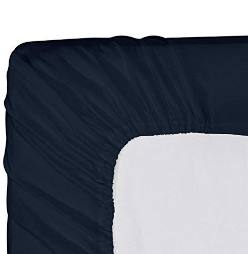 Utopia Bedding Cotton sateen Fitted Sheet (King, Navy) ? Premium Quality Combed Cotton Long Staple Fiber - Breathable, Durable & Comfortable with Deep Pocket