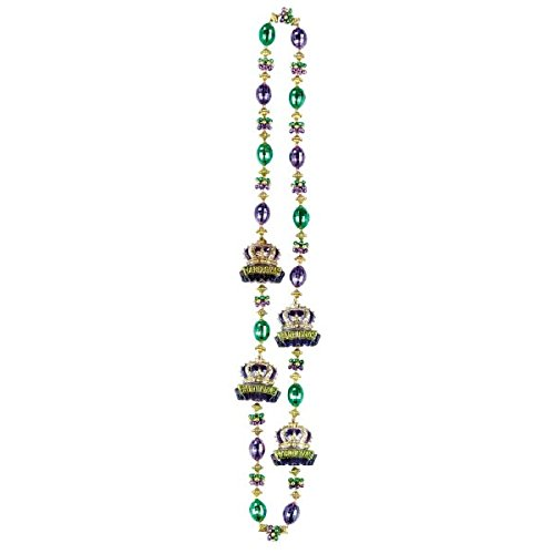 Amscan Mardi Gras Crowns Bead Necklace, Multi Color, 22.5 x ()