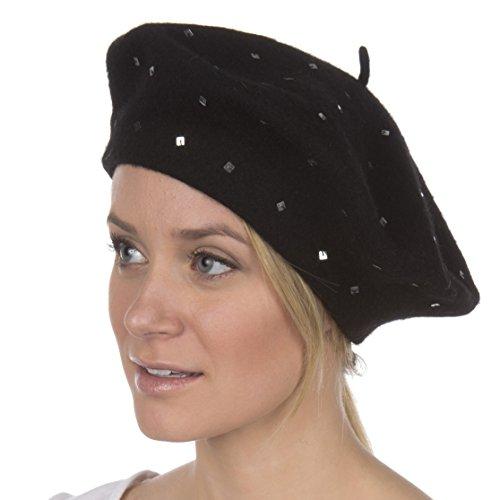 Sakkas 193WSS Juliette Wool Slouch Beret - Black - One Size