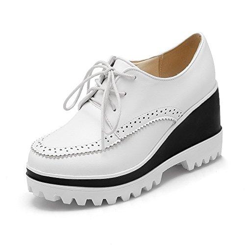 AgooLar Damen Schnüren Hoher Absatz PU Rein Rund Zehe Pumps Schuhe Weiß