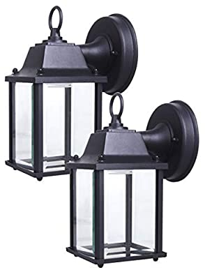 LIT-PaTH Small Outdoor LED Wall Lantern, Wall Sconce as Porch Lighting Fixture, 5000K Daylight White, 9.5W (75W Equivalent), 800 Lumen, Aluminum Housing Plus Glass, Outdoor Rated, 2-Pack