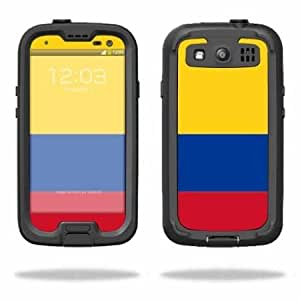 Bloutina Protective Vinyl Skin Decal Cover for LifeProof Samsung Galaxy S III S3 Case fre Sticker Skins Colombian Flag