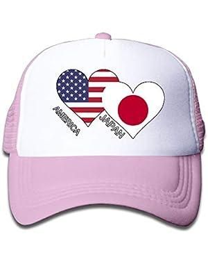 America Japan Flag Heart On Kids Trucker Hat, Youth Toddler Mesh Hats Baseball Cap