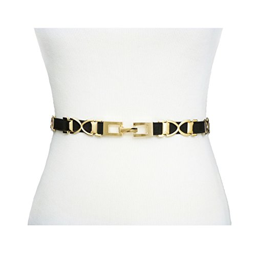 Gold Metal Chain Belt (Fashion 21 Women's Metal & Black Elastic Band Stretchable Belt (Gold Tone))
